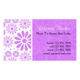 Tarjetas de visita de la mamá - flores de la lavan