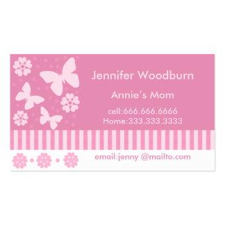 Tarjetas de visita de la mamá - flores de mariposa