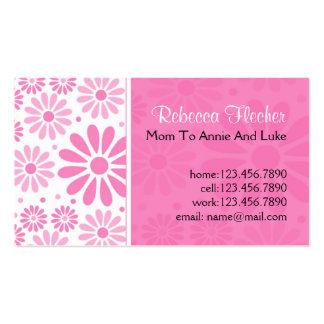 Tarjetas de visita de la mamá - flores rosadas