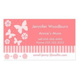 Tarjetas de visita de la mamá - mariposas y flores