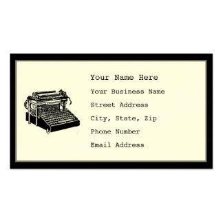 Tarjetas de visita de la máquina de escribir del v