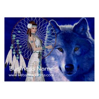 Tarjetas de visita de la mujer y del lobo D2 del