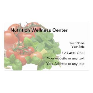 Tarjetas de visita de la nutrición
