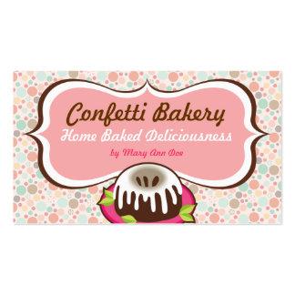 Tarjetas de visita de la panadería del confeti