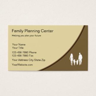 Tarjetas de visita de la planificación familiar