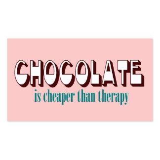 Tarjetas de visita de la terapia del chocolate