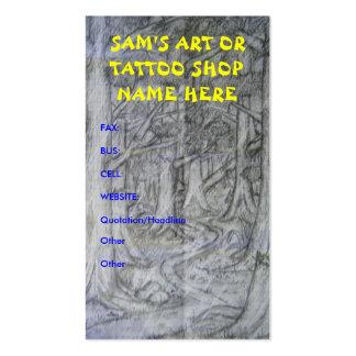 Tarjetas de visita de la tienda del arte o del tat
