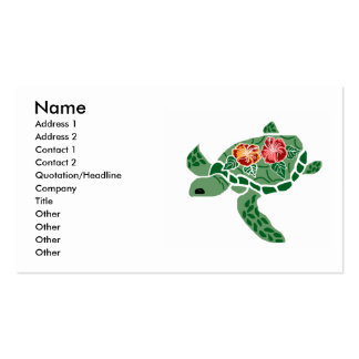 Tarjetas de visita de la tortuga de mar de la flor