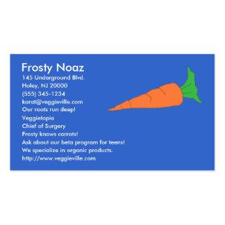 Tarjetas de visita de la zanahoria