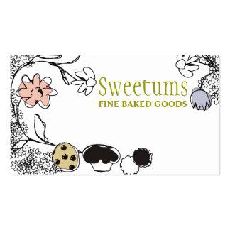 tarjetas de visita de las flores de los dulces de