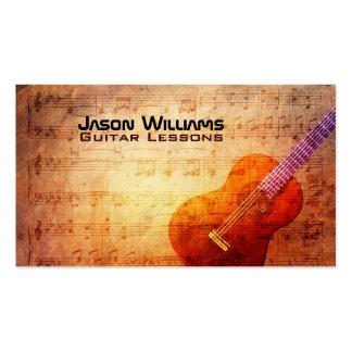 Tarjetas de visita de las lecciones de la guitarra