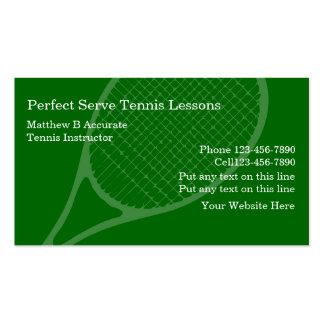 Tarjetas de visita de las lecciones de tenis