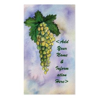Tarjetas de visita de las uvas del vino blanco de