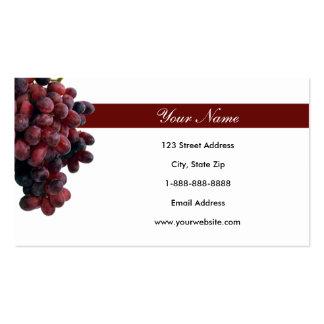Tarjetas de visita de las uvas rojas