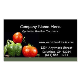 Tarjetas de visita de las verduras