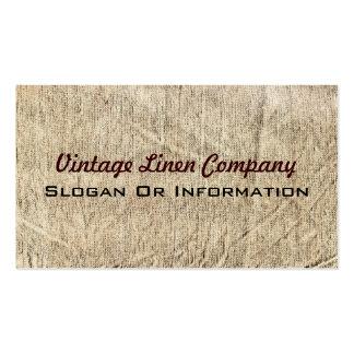 Tarjetas de visita de lino de la tela del vintage