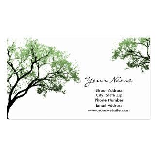 Tarjetas de visita de los árboles del verano
