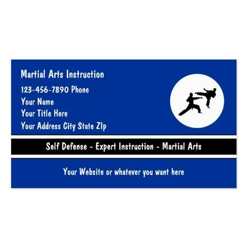 Tarjetas de visita de los artes marciales