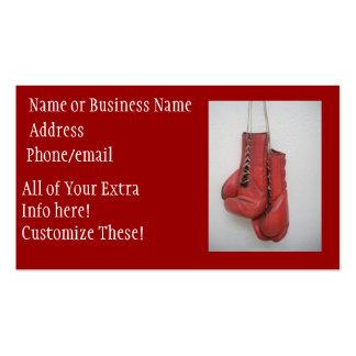 Tarjetas de visita de los guantes de boxeo