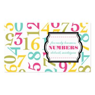 Tarjetas de visita de los números