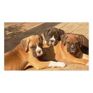 Tarjetas de visita de los perritos del boxeador