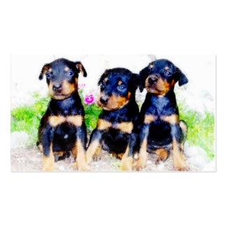 Tarjetas de visita de los perritos del Doberman