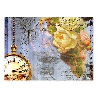 Tarjetas de visita de los rosas amarillos del relo