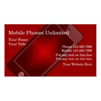 Tarjetas de visita de los teléfonos móviles