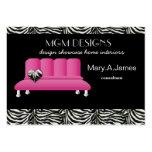 tarjetas de visita de moda rosadas del decorador