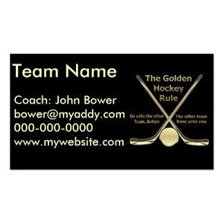 Tarjetas de visita de oro de la regla del hockey