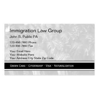 Tarjetas de visita del abogado de la inmigración