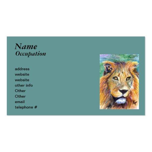Tarjetas de visita del aceo del retrato del león
