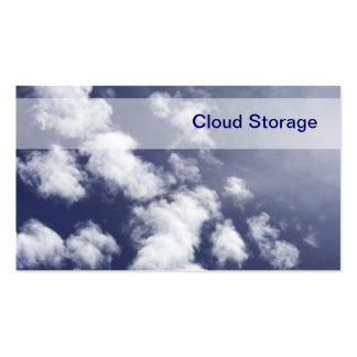 Tarjetas de visita del almacenamiento de la nube