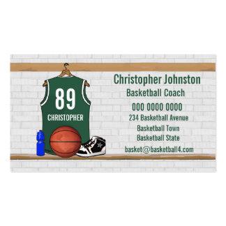 Tarjetas de visita del baloncesto (verde)