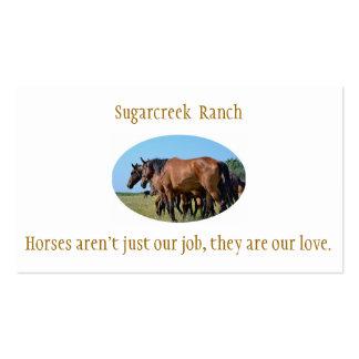 Tarjetas de visita del caballo de bahía del rancho