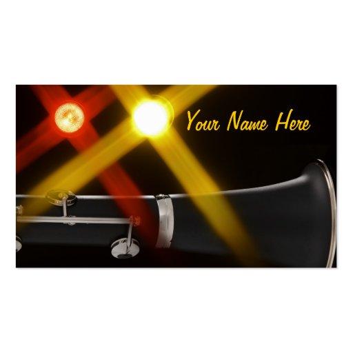 Tarjetas de visita del Clarinet con las luces de l