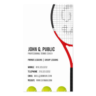 Tarjetas de visita del coche de tenis