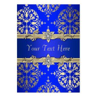 Tarjetas de visita del damasco del oro del azul re