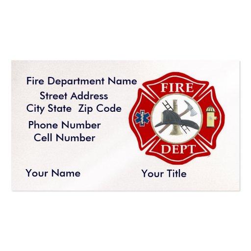 Tarjetas de visita del departamento del fuego con