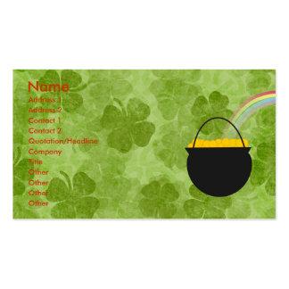 Tarjetas de visita del día de St Patrick de los tr