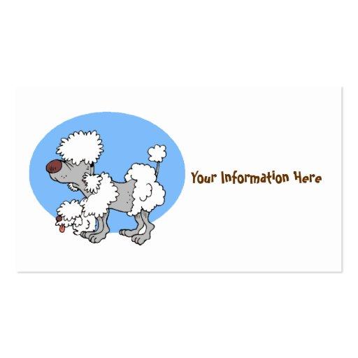 Tarjetas de visita del dibujo animado del caniche
