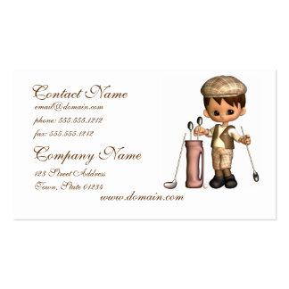 Tarjetas de visita del dibujo animado del golfista