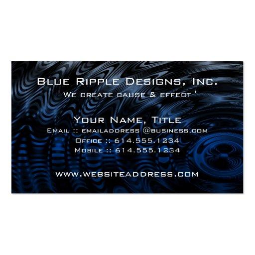Tarjetas de visita del efecto dominó del agua azul
