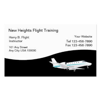 Tarjetas de visita del entrenamiento de vuelo