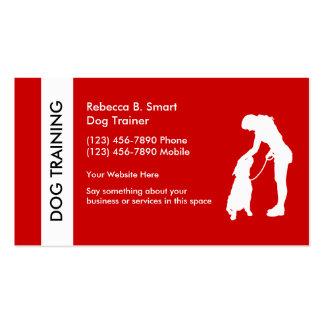 Tarjetas de visita del entrenamiento del perro