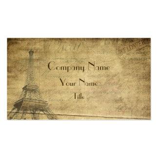 Tarjetas de visita del estilo del vintage de París