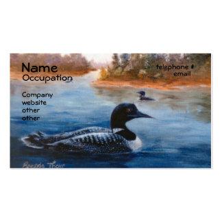 Tarjetas de visita del lago loon