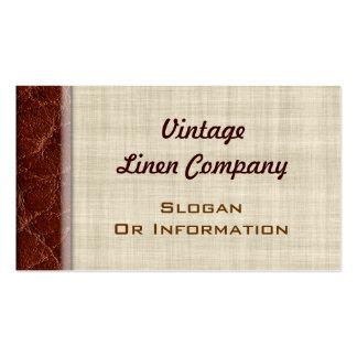 Tarjetas de visita del lino y del cuero del vintag