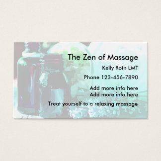 Tarjetas de visita del masaje del zen