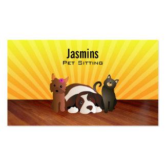 Tarjetas de visita del mascota que se sientan